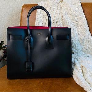 Saint Laurent Small Sac de Jour Black+ Fuschia Bag